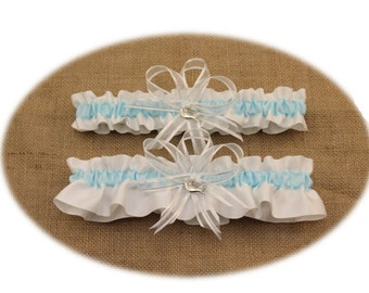 White and Light Blue Wedding Garter Set with Dove Charms, Bridal Garter, Prom Garter  (Your Choice, Single or Set)