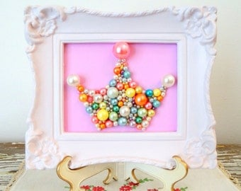 Pink Princess Nursery Art - Princess Crown - Mosaic wall art - Pastel pink pearl crown - White frame - Glitter picture  Candy Colors 3d Art