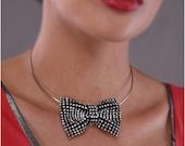 Rhinestone Bow Tie Choker, Silver, Black, Victor-Victoria, hand-made, fancy women's necklace
