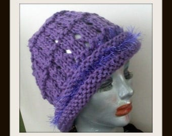 HAT WOMEN KNITTED  Open knit slouch--Beanie--Snood--Supersized Fun fur