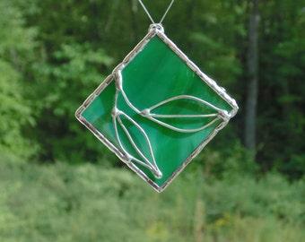 Stained glass suncatcher ornament, wire leaf, Christmas decoration, light catcher, copper foil glassart, nature simple minimalist