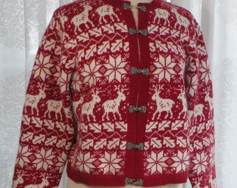 Nordic Style Ski Sweater by Croft & Barrow, Reindeer, Size M, red and white