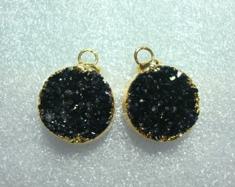 Natural Black Dark Gray Drusy Druzy 24K Gold Electroplated, Earrings Pair, 10mm Tiny Pendants, Sparkles, 12% Sale, 1 pair, a9black