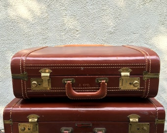 Mid Century Leather Suitcase - Lincoln Zephyrlyte style - J O'C monogram