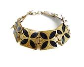 Art Deco Bracelet, Germany, Gold Brass Metal, Black Enamel, Byzantine Design, Antique Jewelry