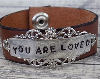 Leather Cuff Hand Stamped Metal You Are Loved Silver Filigree