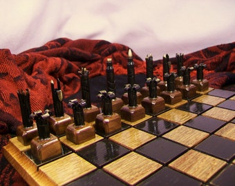 Bullet Shell Chess set- Caliber .223 -Painted black vs. polished brass