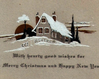 Art Deco Christmas Cards Cottage Carolers Winter Scenes 1930's