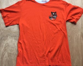 Vintage Tigers Club Tshirt / Super thin and soft Ringer T Shirt Tee / 70's Orange tshirt /