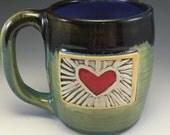 Heart, Mug, Soul Patch, Heart Mug, Unique Love Mug, Green Mug, Valentines Mug, Red Heart Mug, Wheel-thrown Heart Mug.