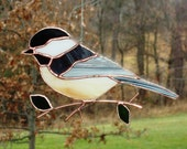 Chickadee - Large Stained Glass Bird Suncatcher 1215