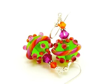 Colorful Earrings, Lampwork Earrings, Glass Earrings, Glass Bead Earrings, Beadwork Earrings, Unique Earrings, Glass Art Earrings