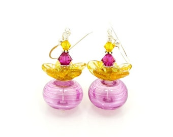 Pink and Yellow Flower Petal Earrings, Lampwork Earrings, Glass Earrings, Blown Glass Earrings, Beadwork Earring, Hollow Glass Earrings