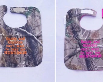 Daddy and Grandpa Cant Wait To Take Me Hunting - Large Baby Bib- FREE Shipping to U.S.