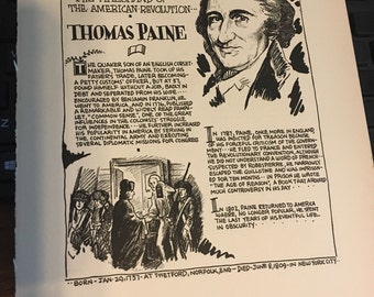 Book page print. Thomas Paine The firebrand of the American Revolution 7x11approx. Great for framing for the collector. History.