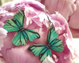 Light Blue / Aqua Butterfly Earrings
