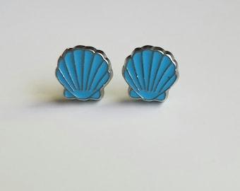 Tiny Blue Shell Earrings
