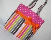 Multi Colored Stripped Purse with Pink Polka Dotted Top~ Small Tote Bag ~Small Purse ~ Tote ~ Girls purse ~Shoulder Bag!