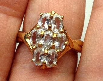 Sz 7, British Estate, Solid 9K Yellow Gold, Sparkling White Topaz, Vintage Ring, Hallmarked 375, Promise Ring