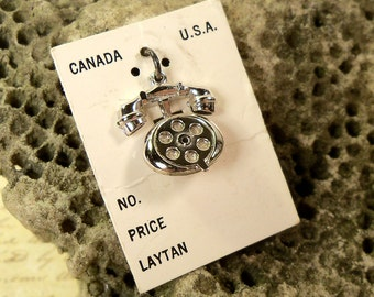 Vintage solid Sterling Silver Rotary Dial Phone Charm For Bracelet deadstock