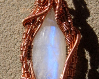 Mother Moon//// Moonstone and Copper Wire Wrap Pendent, One of a Kind, Handmade, Art
