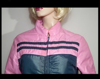 1970s Sportcaster nylon satin down ski jacket ~ Medium ~ navy blue & pink ~ stripe ~ Made in Canada - with stretchy cotton inner cuffs