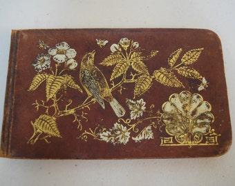 Antique Victorian 1882 Autograph Book 100+ Signatures Pointillist Pen & Ink Drawings Die Cut Images