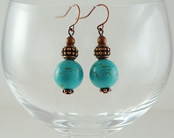 Turquoise Earrings Turquoise Copper Earrings Gemstone Earrings Copper Turquoise Drop Earrings Magnesite Earrings Turquoise Drops