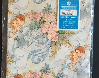 Vtg Wedding Gift Wrap - 1 Giant Sheet - Flower Bouquet and Bride and Groom - In Original Package