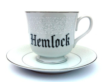 Hemlock Poison Altered Vintage Teacup and Saucer