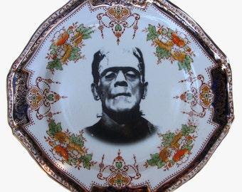 "SALE - Frankenstein Portrait Plate - Altered Antique Plate 8.25"""