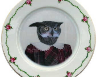 Mary, school portrait - Altered Vintage plate 7.4""