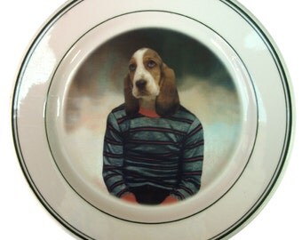 Hunter the Hound, School Portrait - Altered Retro Plate 9.15""