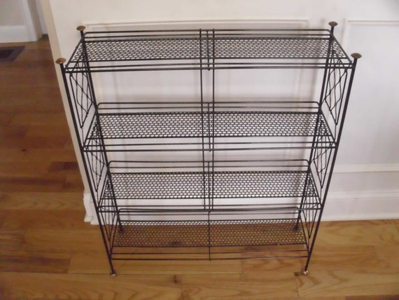 Vintage 1950's/1960's 4 Tiered Black Metal Shelf
