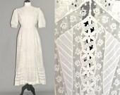 Edwardian Cotton Eyelet and Lace Wedding Dress & Petticoat, Antique White Embroidered Tea Dress, S - M
