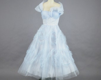 1950s Prom Dress, 50s Dress, Bridesmaid Dress, 50s Tulle Dress, Strapless Party Dress, XS
