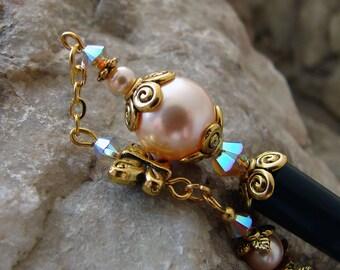 Geisha Hair Stick Peach Pearl Hairpin with Light Grey Opal Swarovski Crystal and Gold Butterfly - Mahina