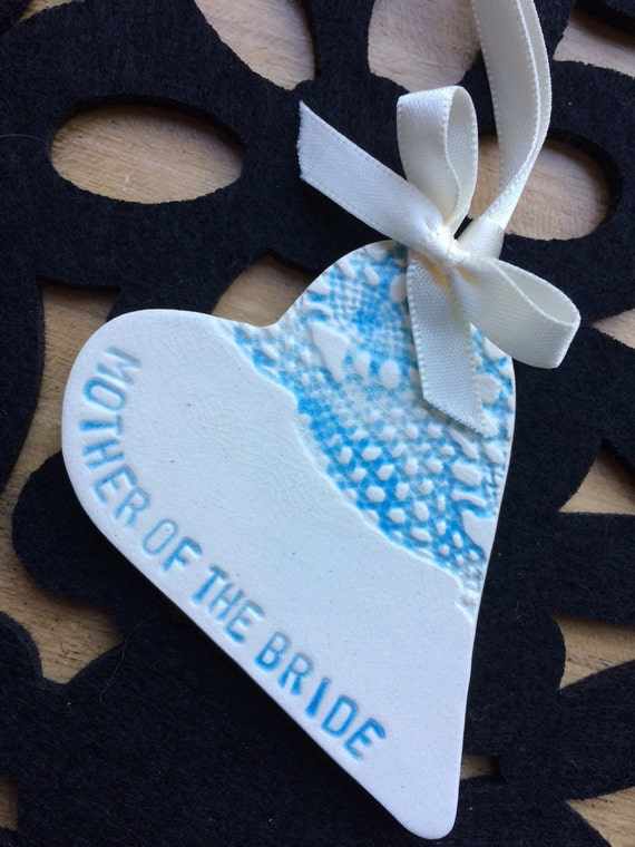 Turquoise Mother of the bride groom ceramic heart gift favour keepsake in gift box