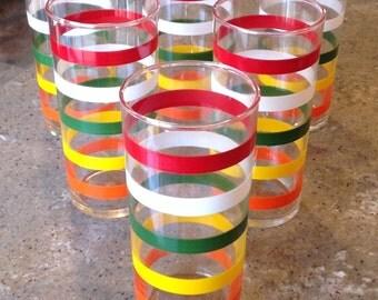 Vintage Anchor Hocking Fiesta stripe Glass Tumbler Set of 6 Ice Iced Tea Orange Yellow Green Red Bands