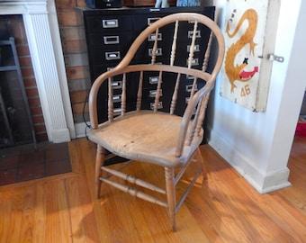 Antique 1800's Pine Captain's Chair