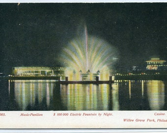 Electric Fountain at Night Music Pavilion Casino Willow Grove Park Philadelphia PA 1910c postcard