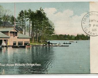 Boat House Wellesley College Massachusetts 1905 postcard