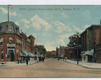 Jackson Street Scene Batavia New York 1910c postcard
