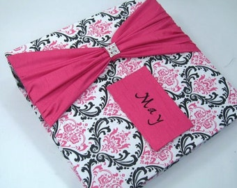BABY PHOTO ALBUM Girl Photo Album Personalized Photo Album Baby girl  Album wedding album 4x6 5x7 8x10 600 picture hot pink black damask