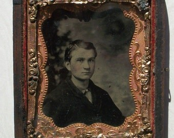 Half Case Tintype - Wistful Young Man