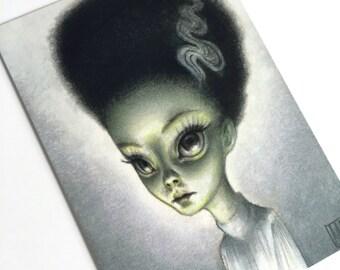 The Bride of Frankenstein - signed 4 x 5.75 Mini Art Print by Mab Graves - unframed