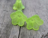 Lucite Flower Beads Neon Green Color 14mm X 10mm