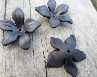 Black Lucite Flower Beads 30mm X 10mm 10pcs