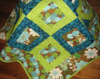 Lap Quilt, Turquoise and Green, Flowers and Leaves, Brown Aqua, Sofa Throw, Quilted Throw, 46 x 55, Sun Room Decor, Ginko Leaves, Handmade