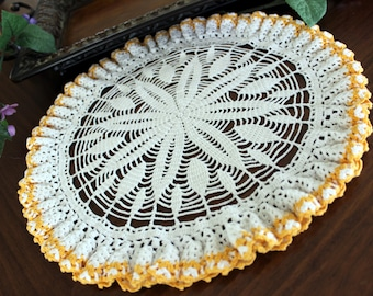 Large Vintage Doily, Hand Crocheted, Fluted Doily or Centerpiece 13349
